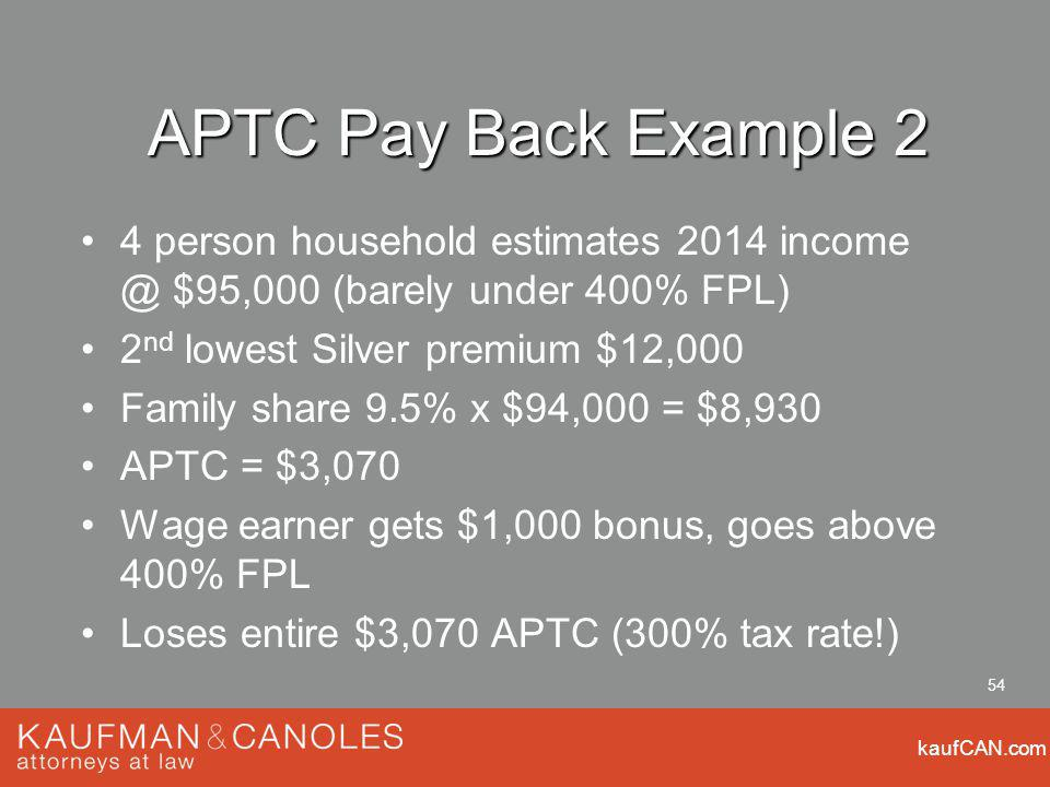 kaufCAN.com 54 APTC Pay Back Example 2 4 person household estimates 2014 $95,000 (barely under 400% FPL) 2 nd lowest Silver premium $12,000 Family share 9.5% x $94,000 = $8,930 APTC = $3,070 Wage earner gets $1,000 bonus, goes above 400% FPL Loses entire $3,070 APTC (300% tax rate!)