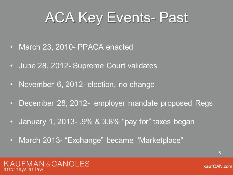 kaufCAN.com 6 ACA Key Events- Past March 23, PPACA enacted June 28, Supreme Court validates November 6, election, no change December 28, employer mandate proposed Regs January 1, % & 3.8% pay for taxes began March Exchange became Marketplace
