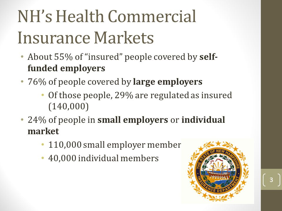 NHs Health Commercial Insurance Markets About 55% of insured people covered by self- funded employers 76% of people covered by large employers Of those people, 29% are regulated as insured (140,000) 24% of people in small employers or individual market 110,000 small employer members 40,000 individual members 3