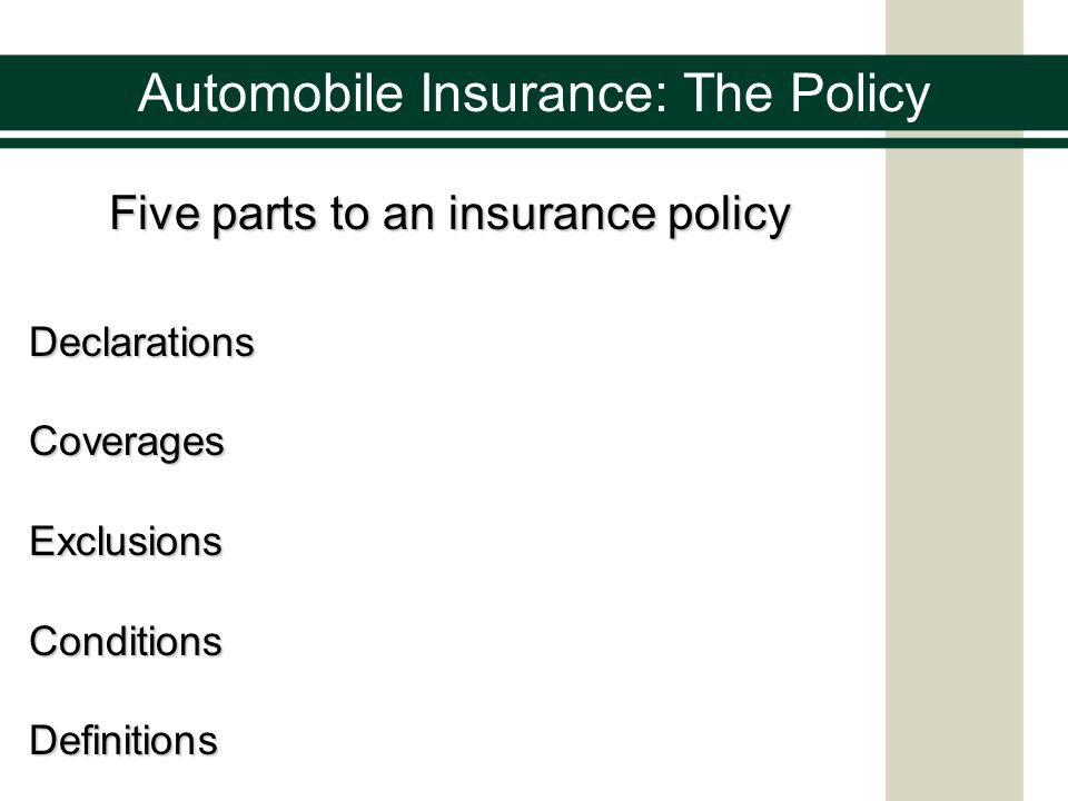 Five parts to an insurance policy DeclarationsCoveragesExclusionsConditionsDefinitions Automobile Insurance: The Policy