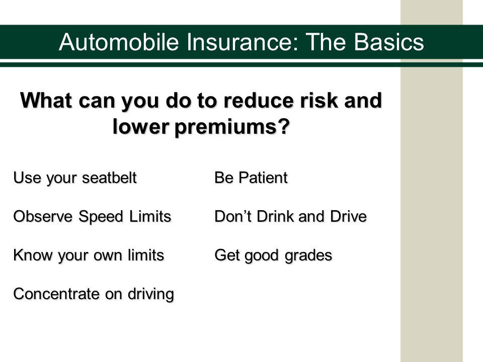 Automobile Insurance: The Basics What can you do to reduce risk and lower premiums.