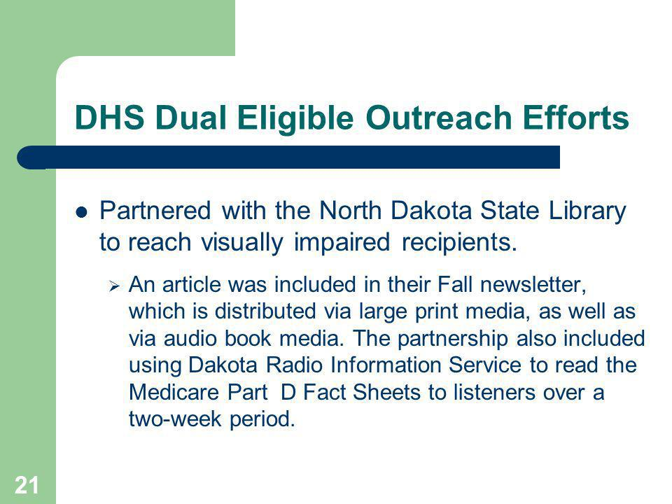 21 DHS Dual Eligible Outreach Efforts Partnered with the North Dakota State Library to reach visually impaired recipients.