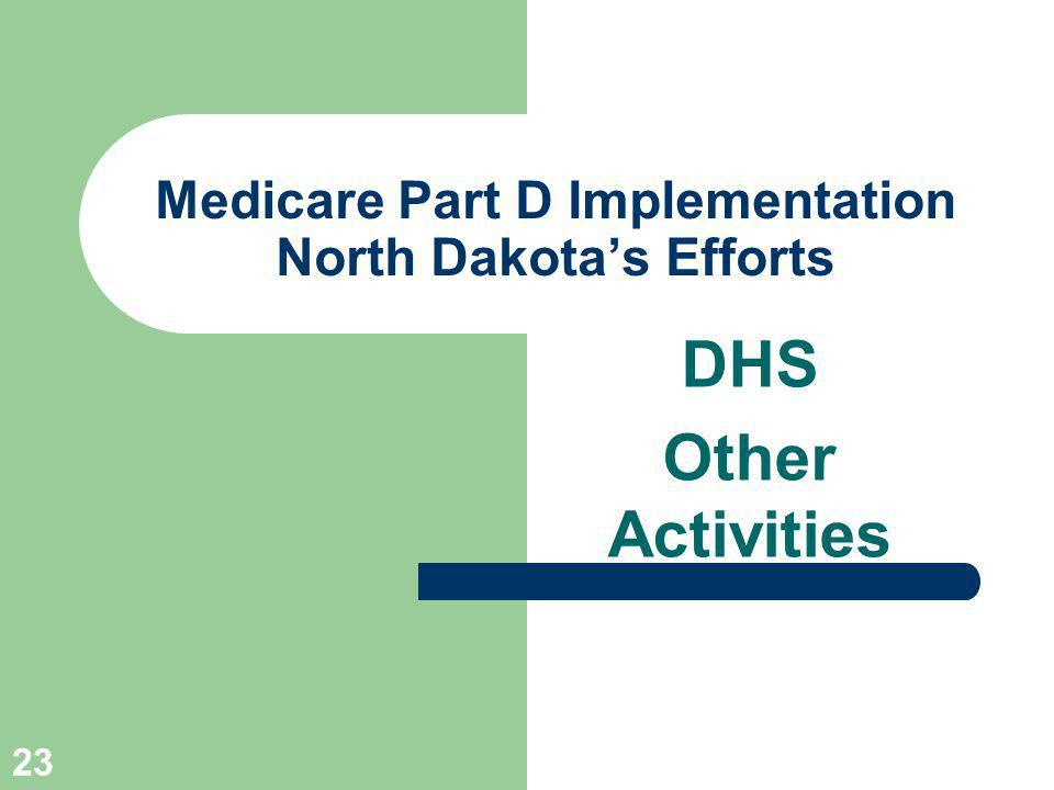 23 Medicare Part D Implementation North Dakotas Efforts DHS Other Activities