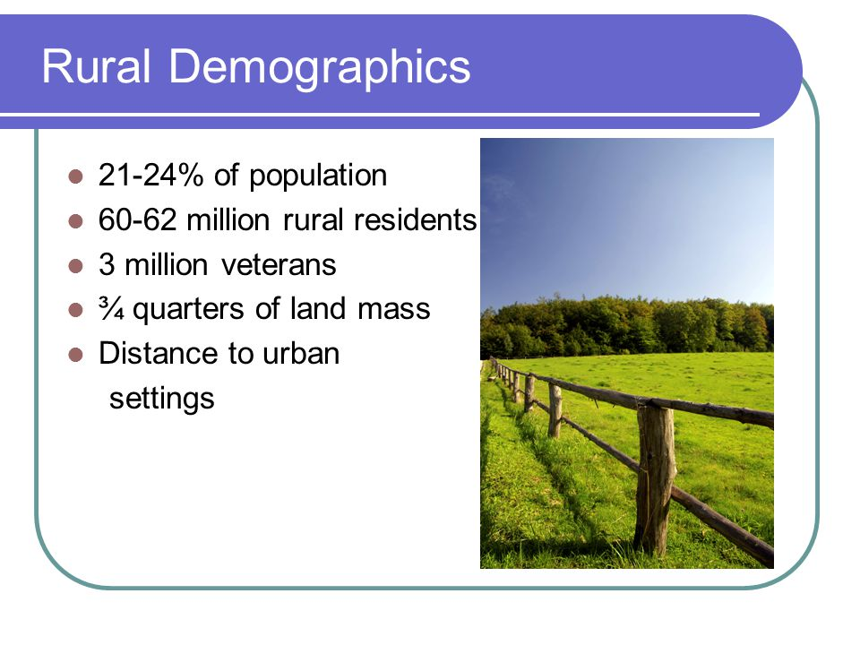 Rural Demographics 21-24% of population million rural residents 3 million veterans ¾ quarters of land mass Distance to urban settings