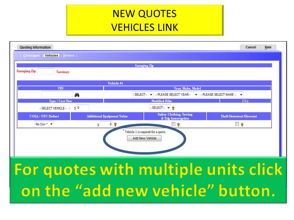 NEW QUOTES VEHICLES LINK