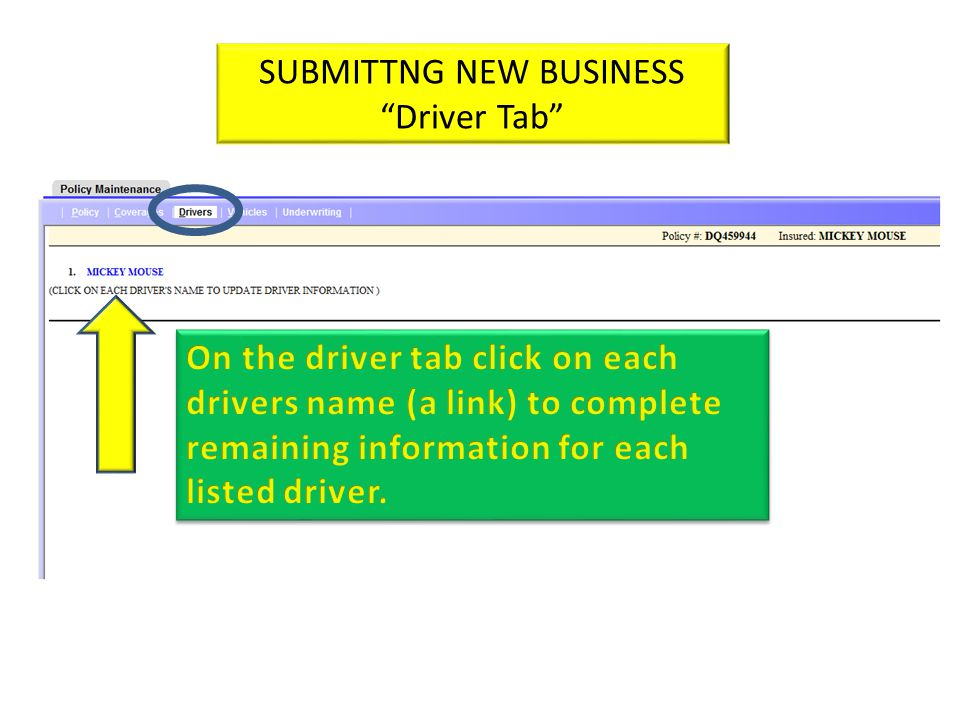 SUBMITTNG NEW BUSINESS Driver Tab