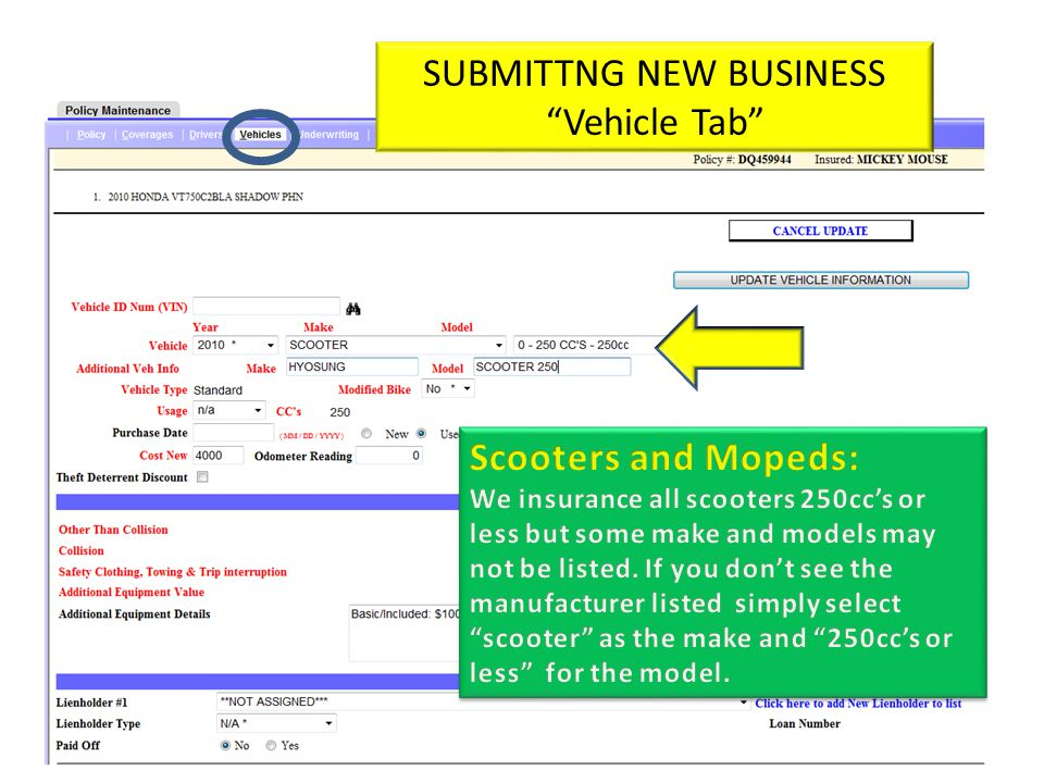 SUBMITTNG NEW BUSINESS Vehicle Tab