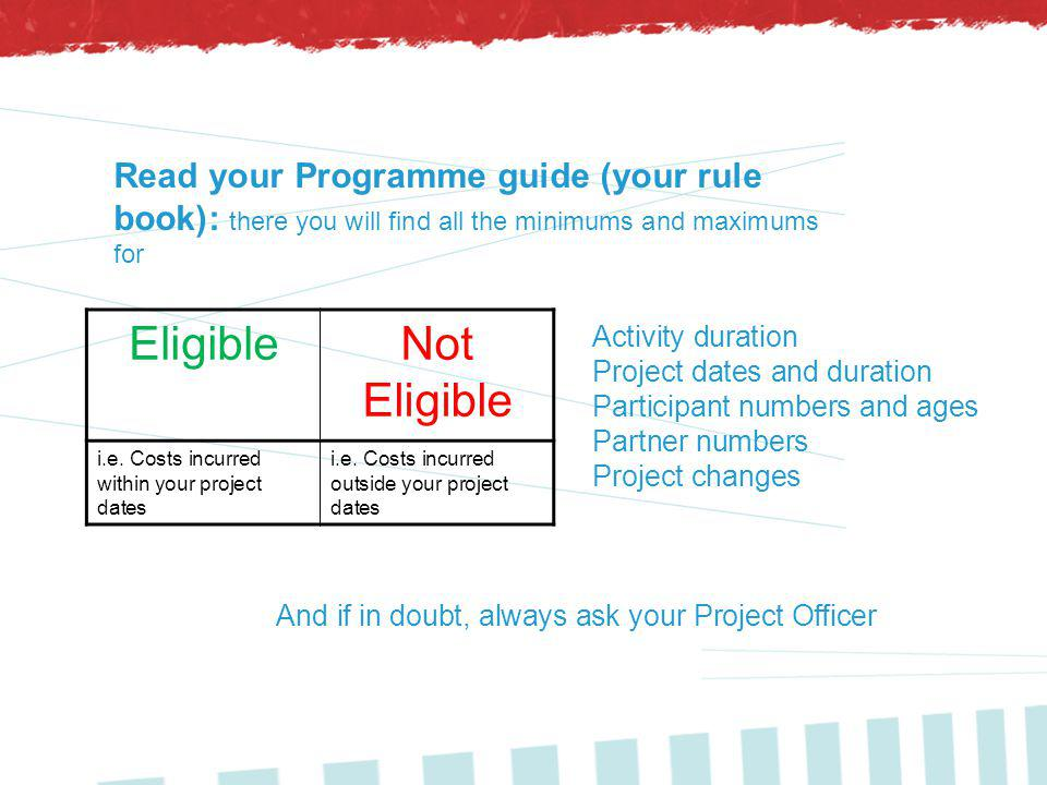 And if in doubt, always ask your Project Officer EligibleNot Eligible i.e.