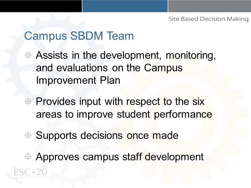 Assists in the development, monitoring, and evaluations on the Campus Improvement Plan Provides input with respect to the six areas to improve student performance Supports decisions once made Approves campus staff development Campus SBDM Team