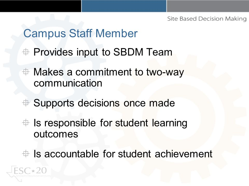 Provides input to SBDM Team Makes a commitment to two-way communication Supports decisions once made Is responsible for student learning outcomes Is accountable for student achievement Campus Staff Member