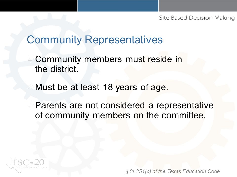 Community members must reside in the district. Must be at least 18 years of age.