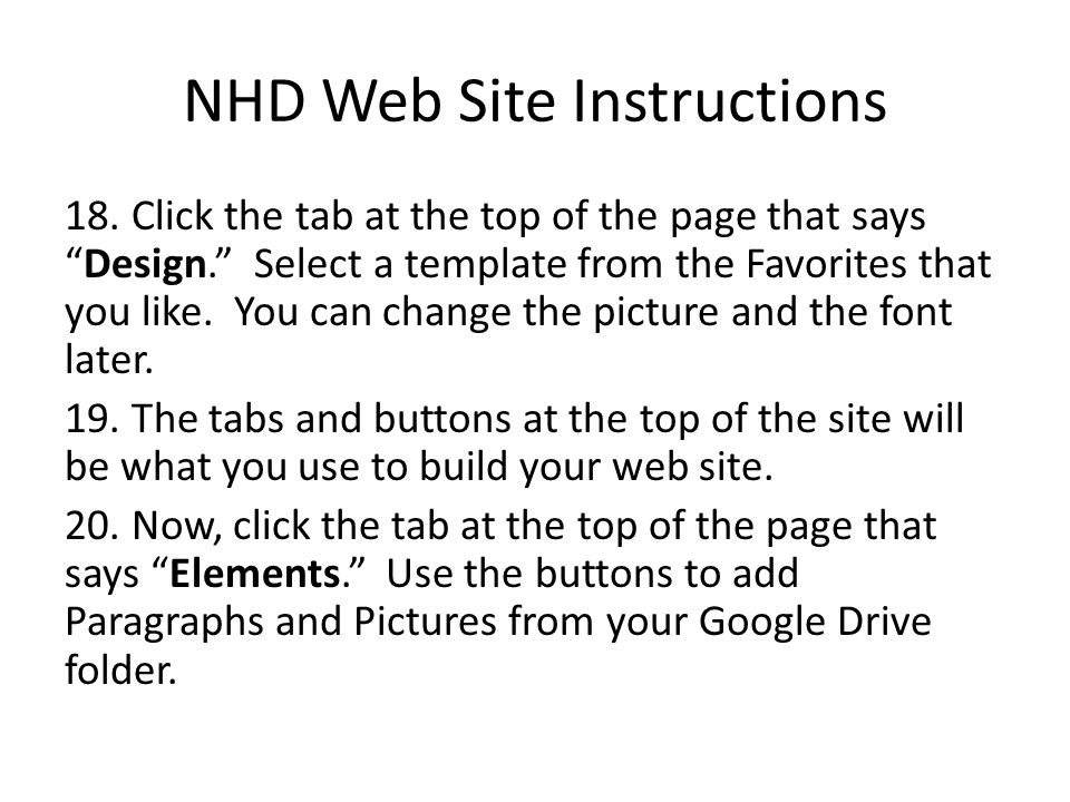 NHD Web Site Instructions 18. Click the tab at the top of the page that saysDesign.