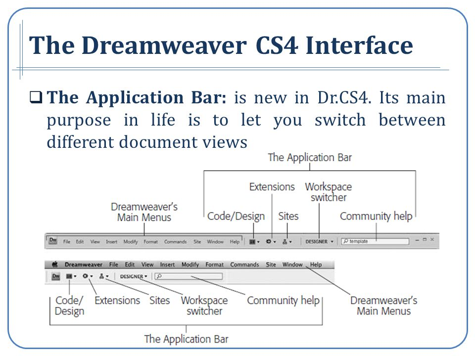 The Dreamweaver CS4 Interface The Application Bar: is new in Dr.CS4.