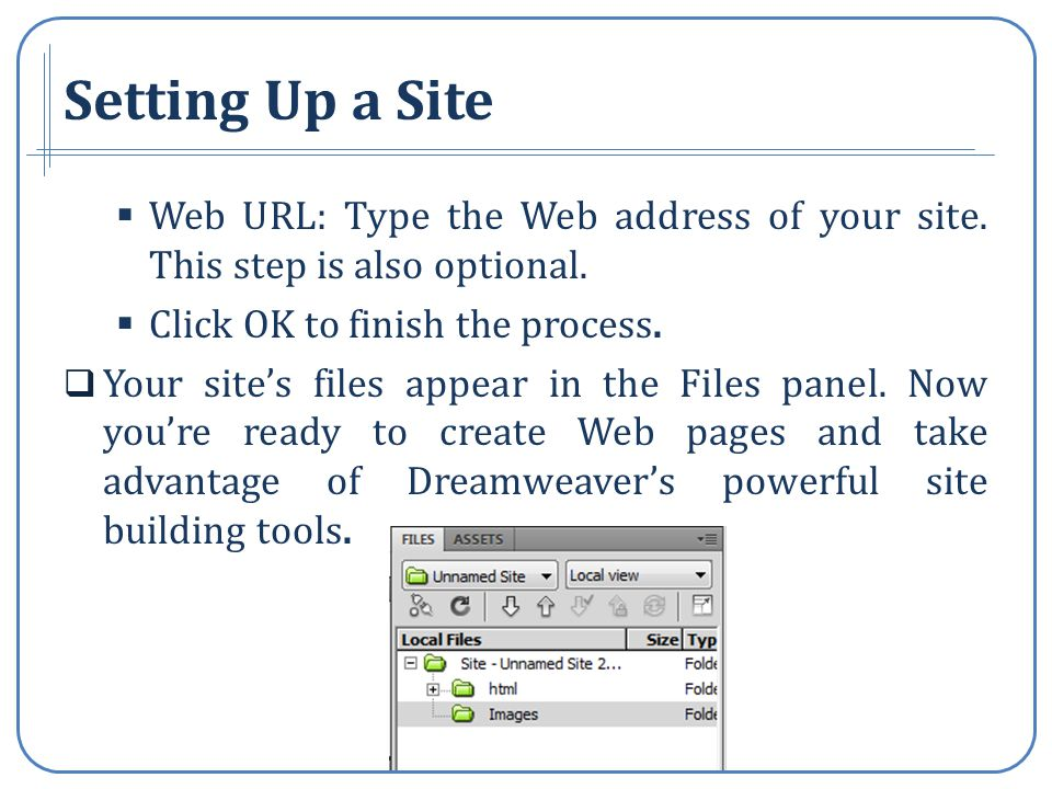 Setting Up a Site Web URL: Type the Web address of your site.