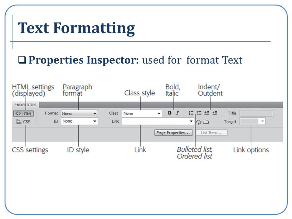 Text Formatting Properties Inspector: used for format Text