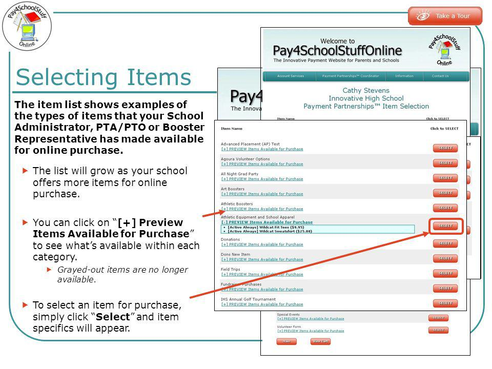 The item list shows examples of the types of items that your School Administrator, PTA/PTO or Booster Representative has made available for online purchase.