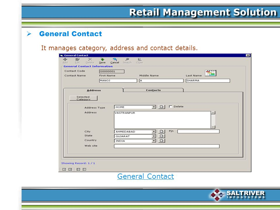 General Contact It manages category, address and contact details.