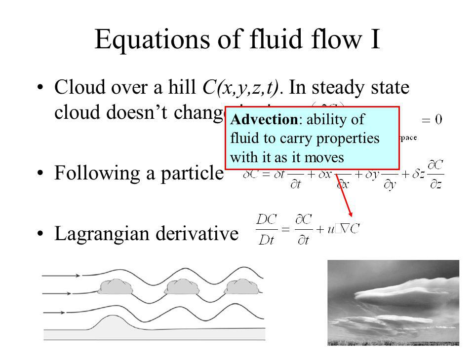 Equations of fluid flow I Cloud over a hill C(x,y,z,t).