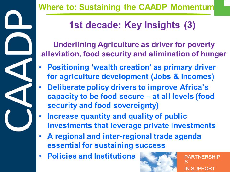 PARTNERSHIP S IN SUPPORT OF CAADP Underlining Agriculture as driver for poverty alleviation, food security and elimination of hunger Positioning wealth creation as primary driver for agriculture development (Jobs & Incomes) Deliberate policy drivers to improve Africas capacity to be food secure – at all levels (food security and food sovereignty) Increase quantity and quality of public investments that leverage private investments A regional and inter-regional trade agenda essential for sustaining success Policies and Institutions 1st decade: Key Insights (3) Where to: Sustaining the CAADP Momentum
