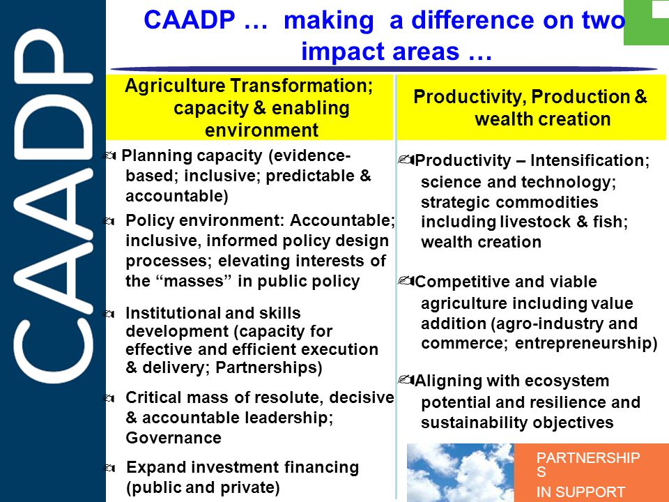 PARTNERSHIP S IN SUPPORT OF CAADP CAADP … making a difference on two impact areas … Institutional and skills development (capacity for effective and efficient execution & delivery; Partnerships) Policy environment: Accountable; inclusive, informed policy design processes; elevating interests of the masses in public policy Planning capacity (evidence- based; inclusive; predictable & accountable) Agriculture Transformation; capacity & enabling environment Productivity, Production & wealth creation Productivity – Intensification; science and technology; strategic commodities including livestock & fish; wealth creation Competitive and viable agriculture including value addition (agro-industry and commerce; entrepreneurship) Aligning with ecosystem potential and resilience and sustainability objectives Critical mass of resolute, decisive & accountable leadership; Governance Expand investment financing (public and private)