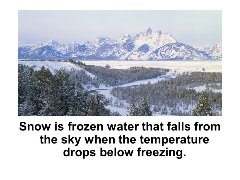 Snow is frozen water that falls from the sky when the temperature drops below freezing.