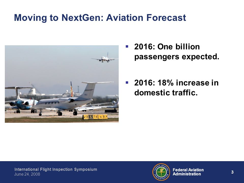 3 International Flight Inspection Symposium June 24, 2008 Federal Aviation Administration Moving to NextGen: Aviation Forecast 2016: One billion passengers expected.