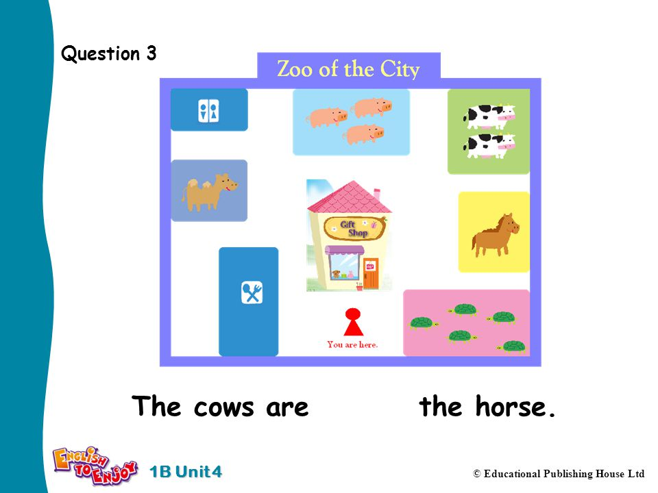 1B Unit 4 © Educational Publishing House Ltd Question 3 The cows are behind the horse.
