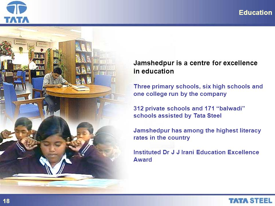 18 Education Jamshedpur is a centre for excellence in education Three primary schools, six high schools and one college run by the company 312 private schools and 171 balwadi schools assisted by Tata Steel Jamshedpur has among the highest literacy rates in the country Instituted Dr J J Irani Education Excellence Award 18
