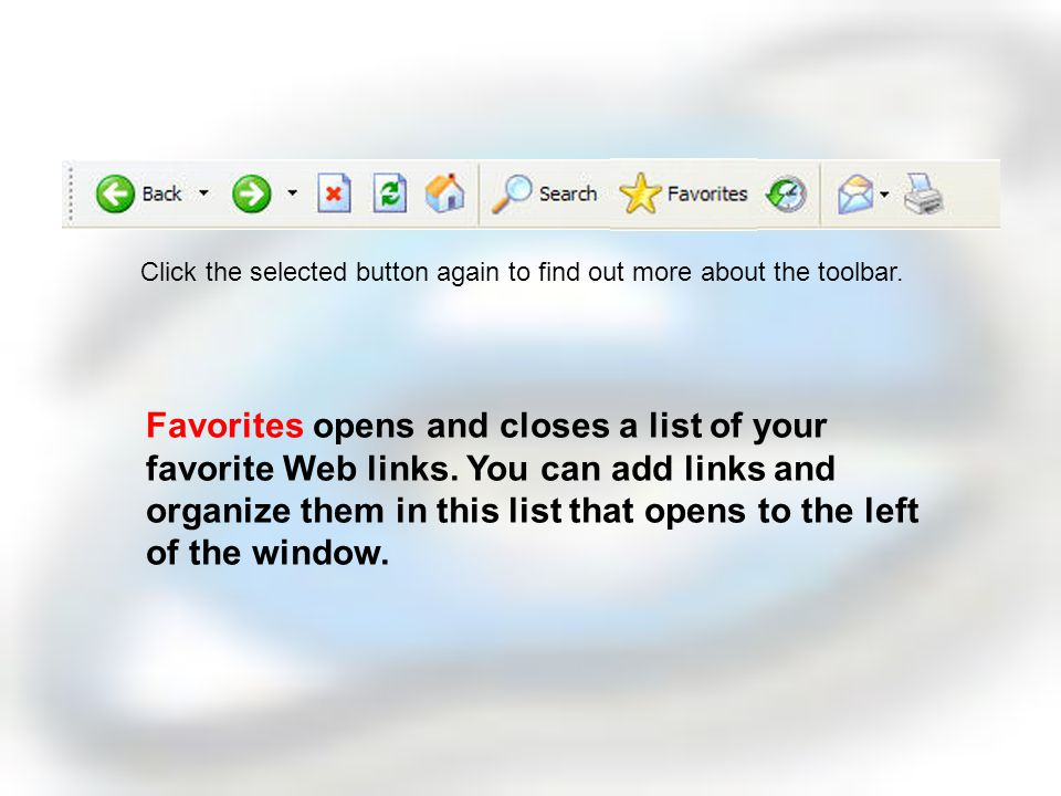 Search allows opens and closes a Search page on the left hand side of the window.