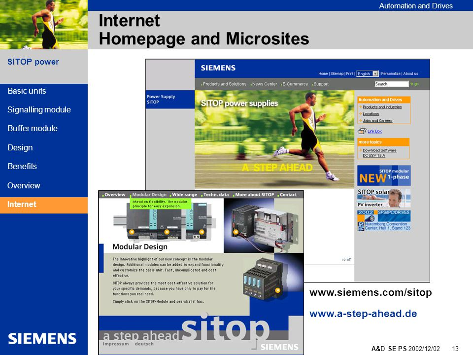 SITOP - a step ahead A&D SE PS 2002/12/02 13 SITOP power Automation and Drives Internet Homepage and Microsites Basic units Signalling module Buffer module Design Benefits Overview Internet