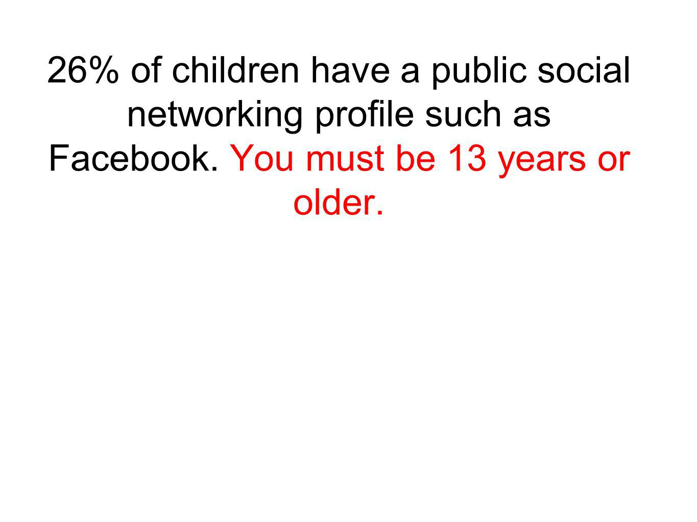 26% of children have a public social networking prole such as Facebook.