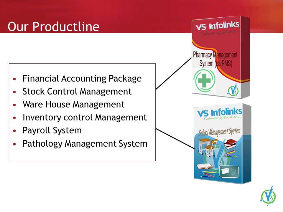 Our Productline Financial Accounting Package Stock Control Management Ware House Management Inventory control Management Payroll System Pathology Management System