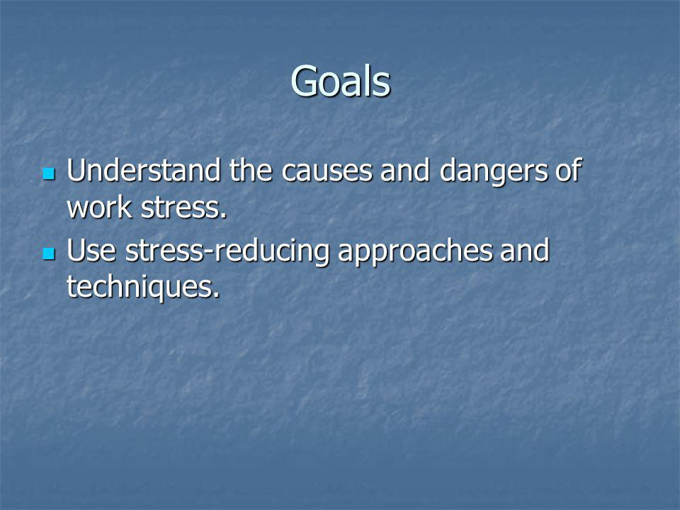 Goals Understand the causes and dangers of work stress.