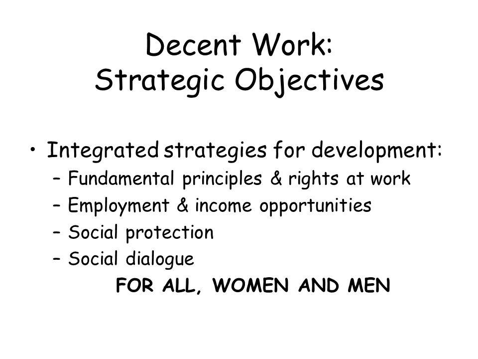 Decent Work: Strategic Objectives Integrated strategies for development: –Fundamental principles & rights at work –Employment & income opportunities –Social protection –Social dialogue FOR ALL, WOMEN AND MEN