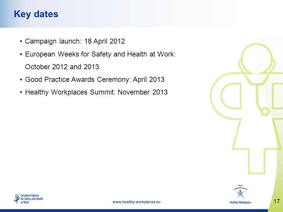 17   Key dates Campaign launch: 18 April 2012 European Weeks for Safety and Health at Work: October 2012 and 2013 Good Practice Awards Ceremony: April 2013 Healthy Workplaces Summit: November 2013