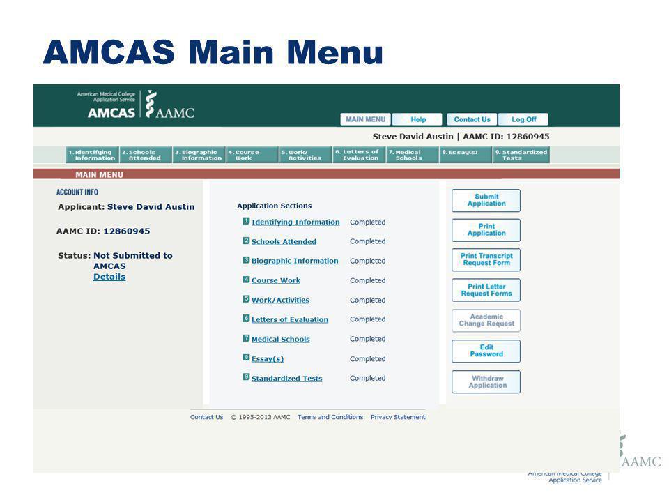 The 2014 AMCAS Application AMCAS Communications Spring ppt
