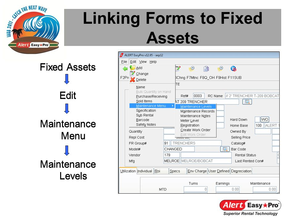 Linking Forms to Fixed Assets Fixed Assets Edit Maintenance Menu Maintenance Levels Fixed Assets Edit Maintenance Menu Maintenance Levels