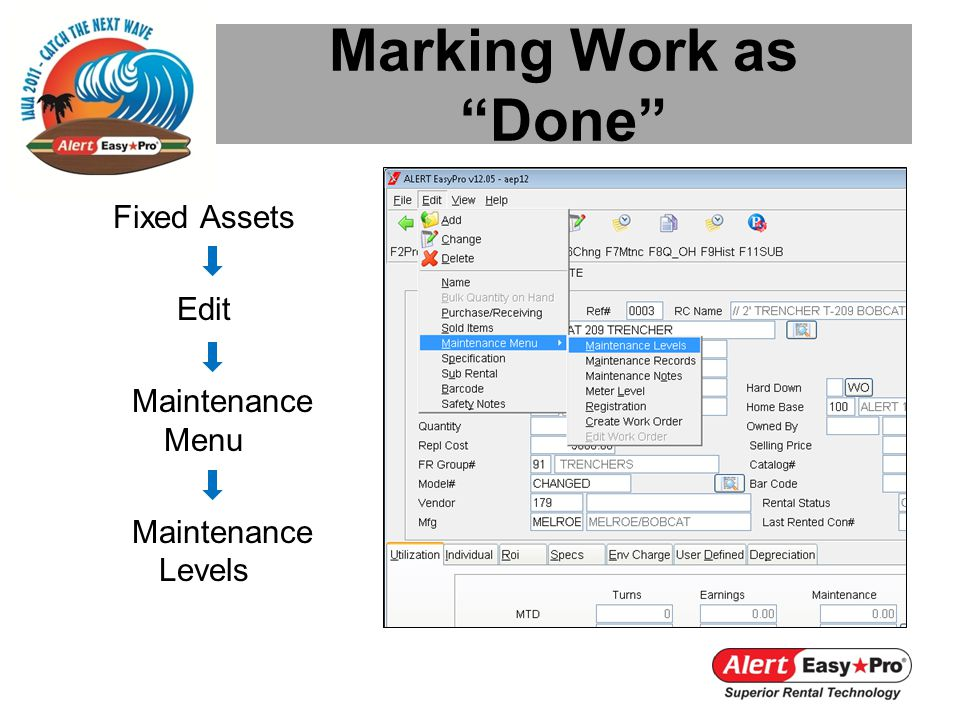 Marking Work as Done Fixed Assets Edit Maintenance Menu Maintenance Levels