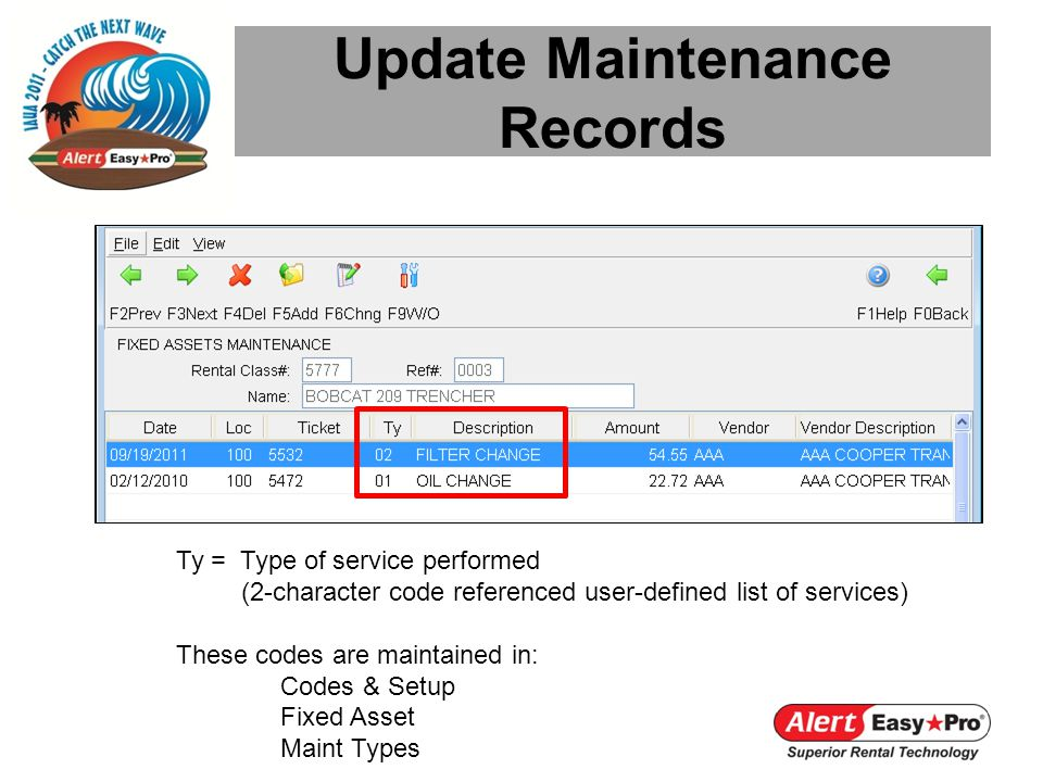 Update Maintenance Records Ty = Type of service performed (2-character code referenced user-defined list of services) These codes are maintained in: Codes & Setup Fixed Asset Maint Types
