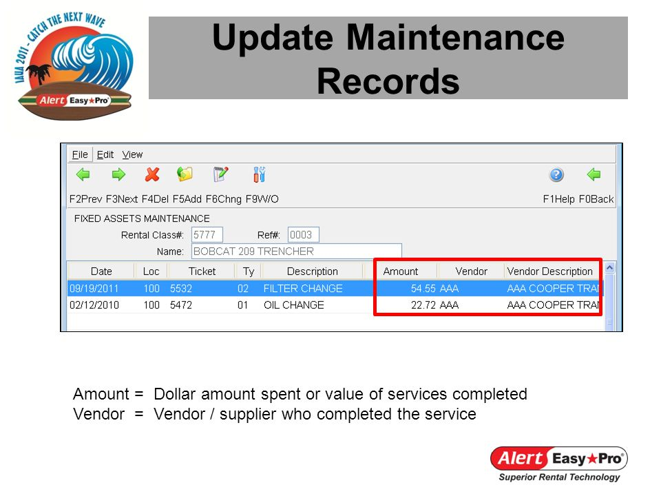 Update Maintenance Records Amount = Dollar amount spent or value of services completed Vendor = Vendor / supplier who completed the service