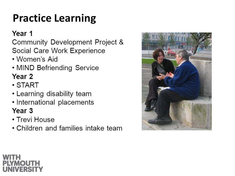 Practice Learning Year 1 Community Development Project & Social Care Work Experience Womens Aid MIND Befriending Service Year 2 START Learning disability team International placements Year 3 Trevi House Children and families intake team