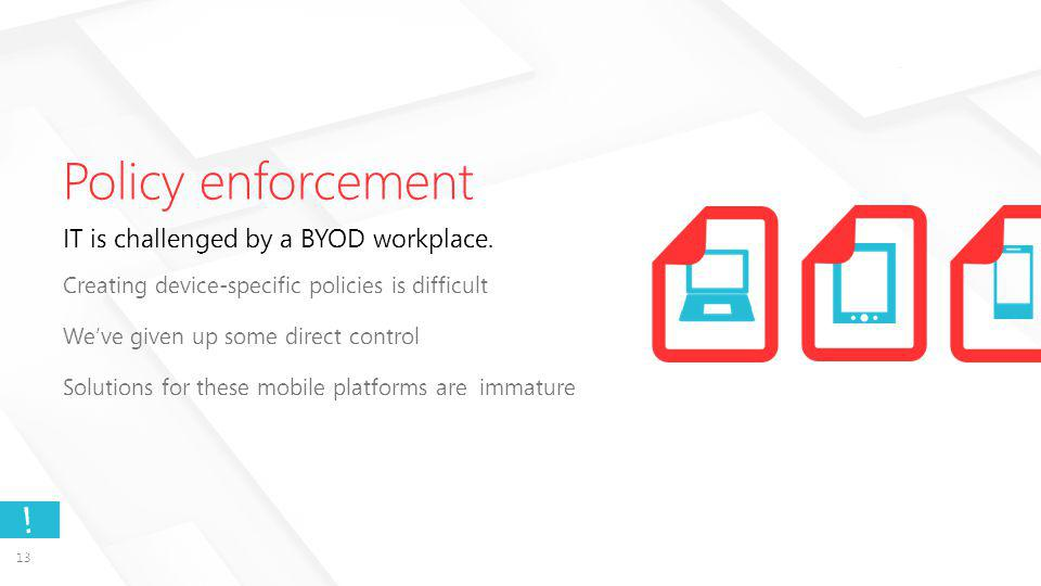 13 . Policy enforcement IT is challenged by a BYOD workplace.