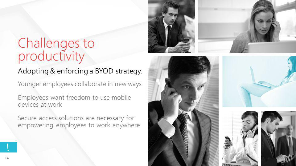 Challenges to productivity Adopting & enforcing a BYOD strategy.