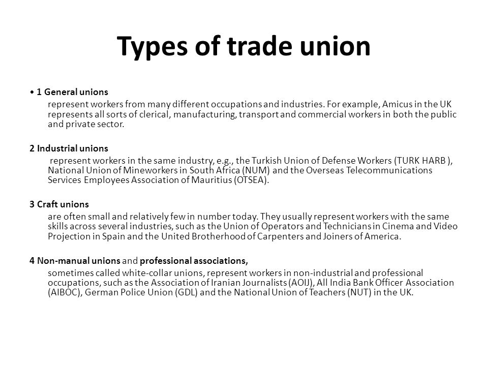 types of trade unions in india