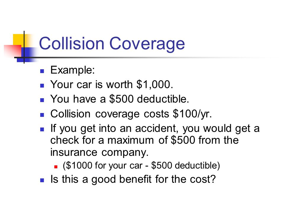 Collision Coverage Example: Your car is worth $1,000.