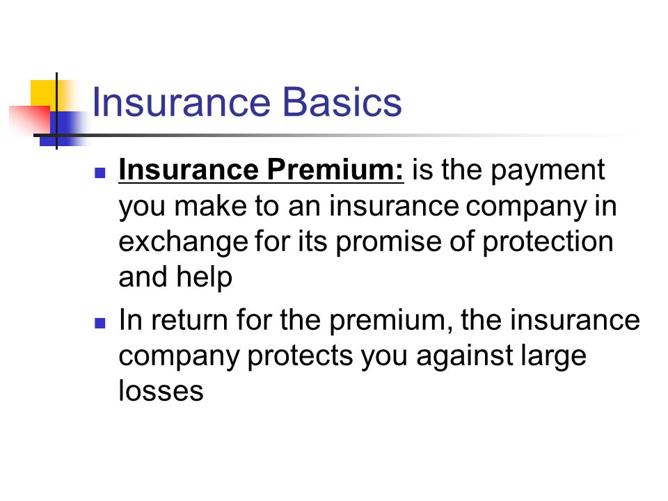 Insurance Basics Insurance Premium: is the payment you make to an insurance company in exchange for its promise of protection and help In return for the premium, the insurance company protects you against large losses