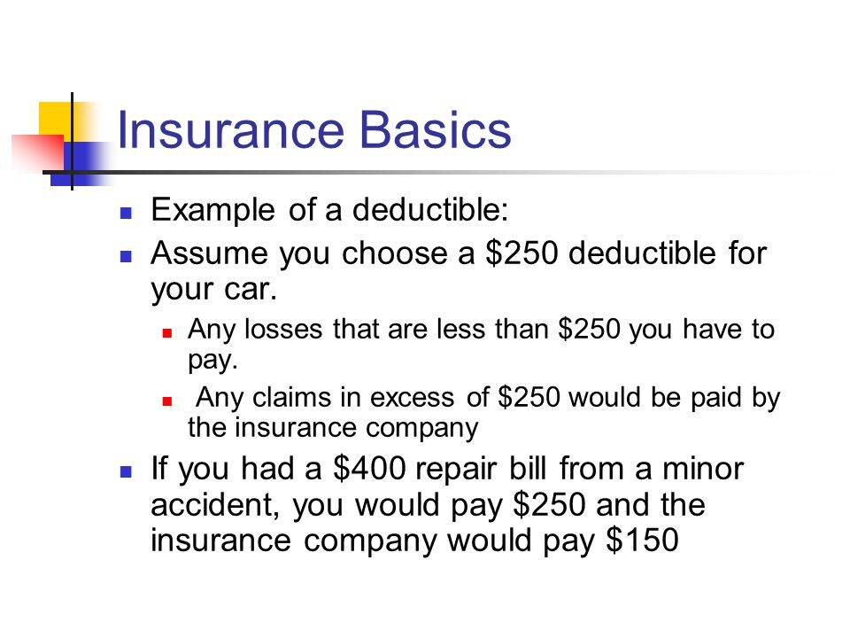 Insurance Basics Example of a deductible: Assume you choose a $250 deductible for your car.
