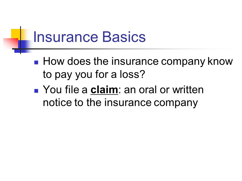 Insurance Basics How does the insurance company know to pay you for a loss.