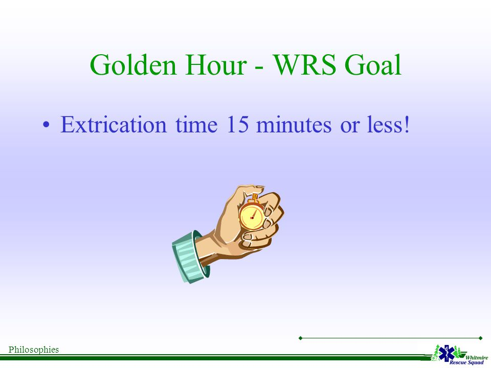 Philosophies Golden Hour - WRS Goal Extrication time 15 minutes or less!