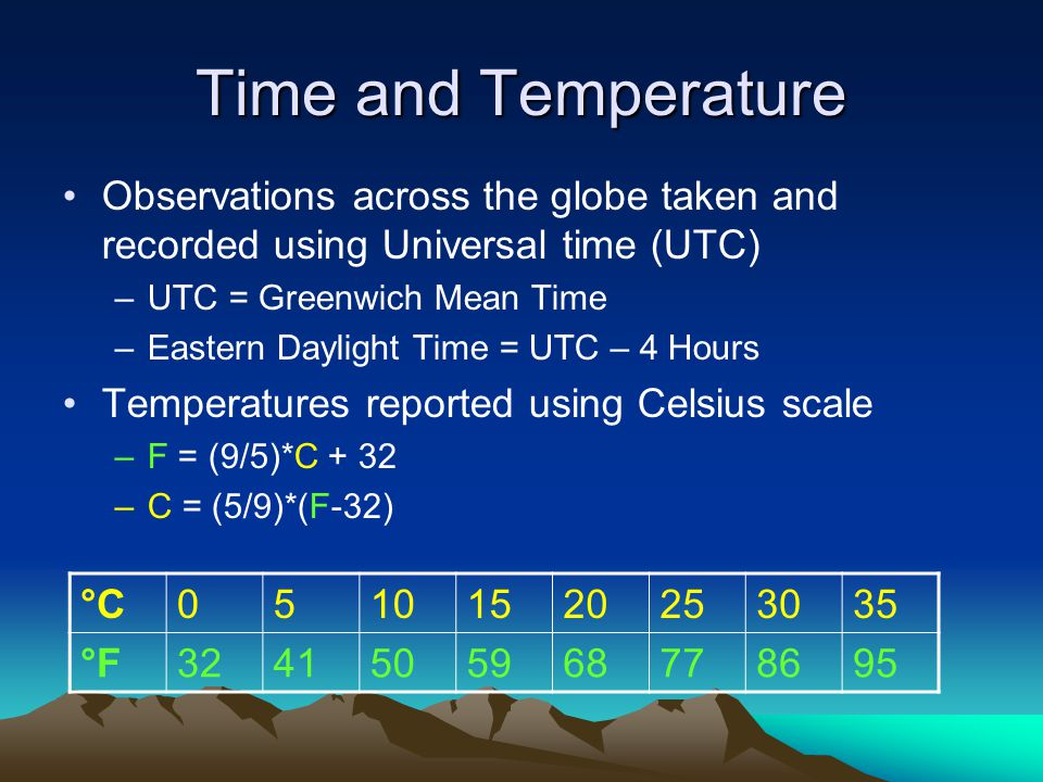 Time and Temperature Observations across the globe taken and recorded using Universal time (UTC) –UTC = Greenwich Mean Time –Eastern Daylight Time = UTC – 4 Hours Temperatures reported using Celsius scale –F = (9/5)*C + 32 –C = (5/9)*(F-32) °C °F